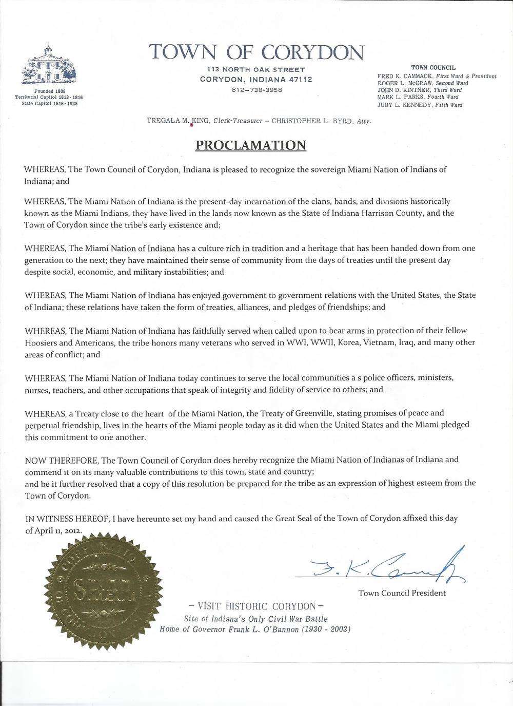 Proclamation City of Corydon.jpg