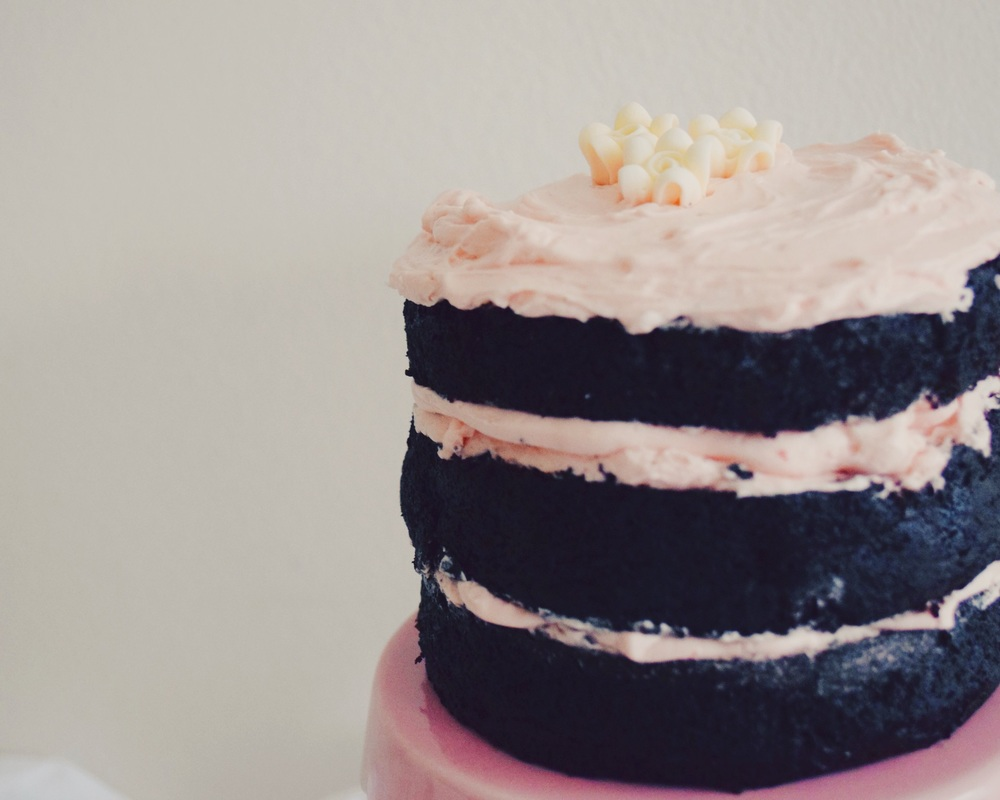 Chocolate cake with pretty pink frosting