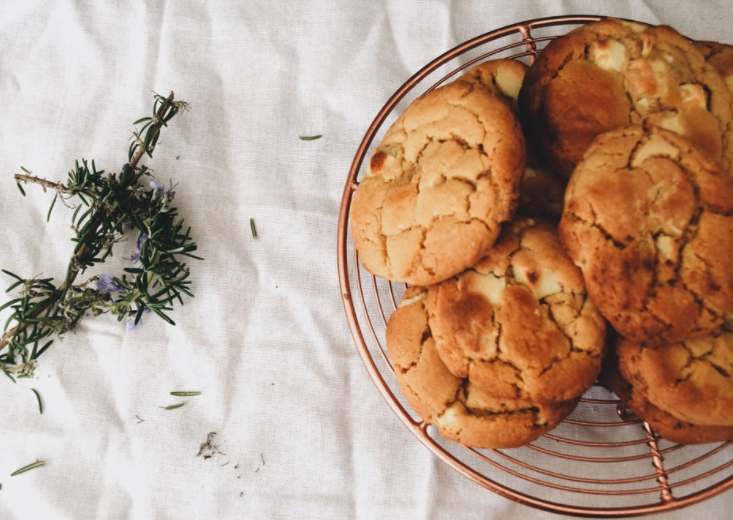 White Chocolate & Rosemary Cookies