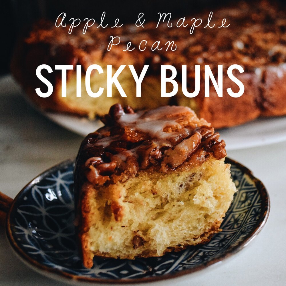 Apple Maple Pecan Sticky cinnamon buns