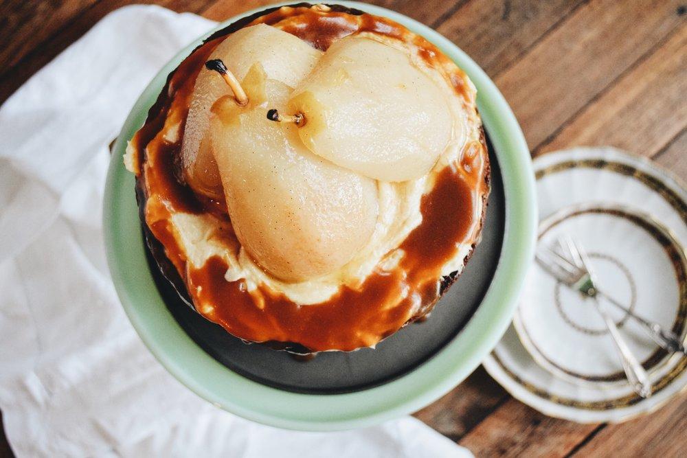 Pear & caramel cake