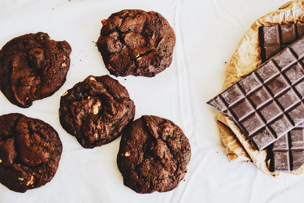 dark chocolate cookies with white chocolate chunks