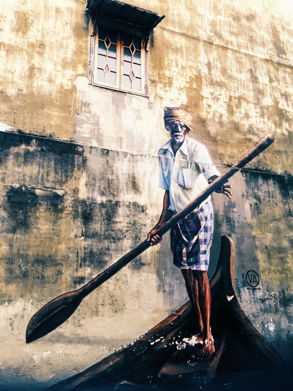 Wander: Street Art Penang River boatman Street Art Penang.JPG