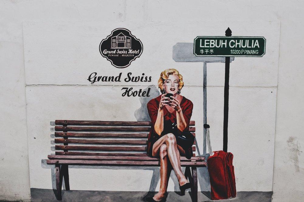 Wander: Street Art Penang Marilyn Monroe Graffiti
