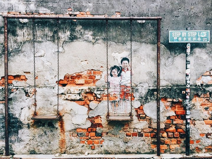 Wander: Street Art Penang Kids on swing Georgetown.JPG