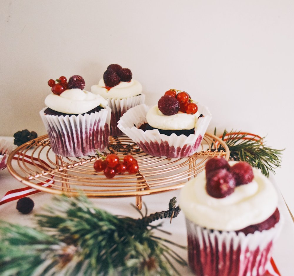 Ruby & Cake - Red Velvet Cupcakes with sugared cranberries