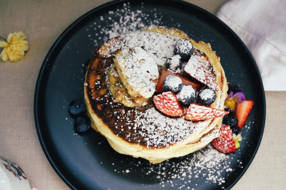 Ricotta Hotcakes with Honeycomb butter Granger & Co Style