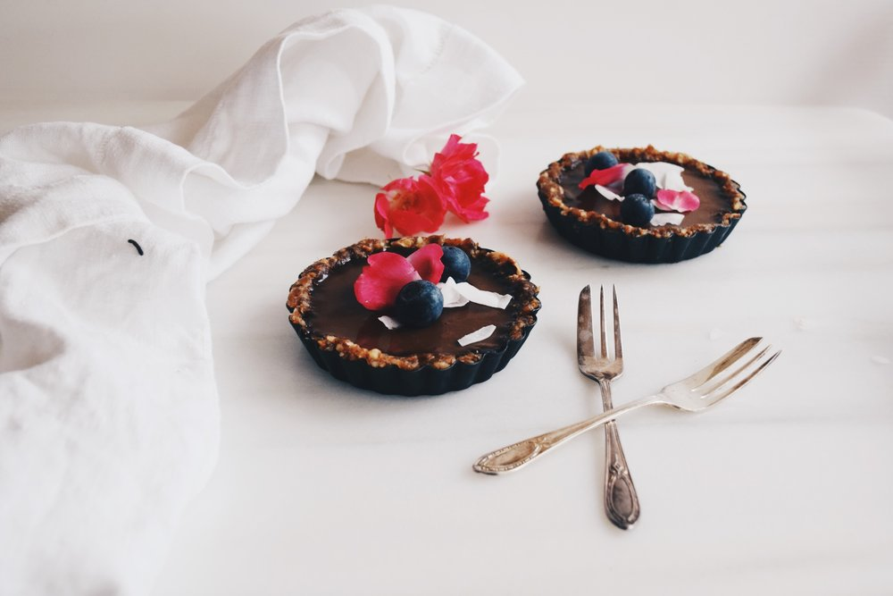 vegan cacao ganache tarts