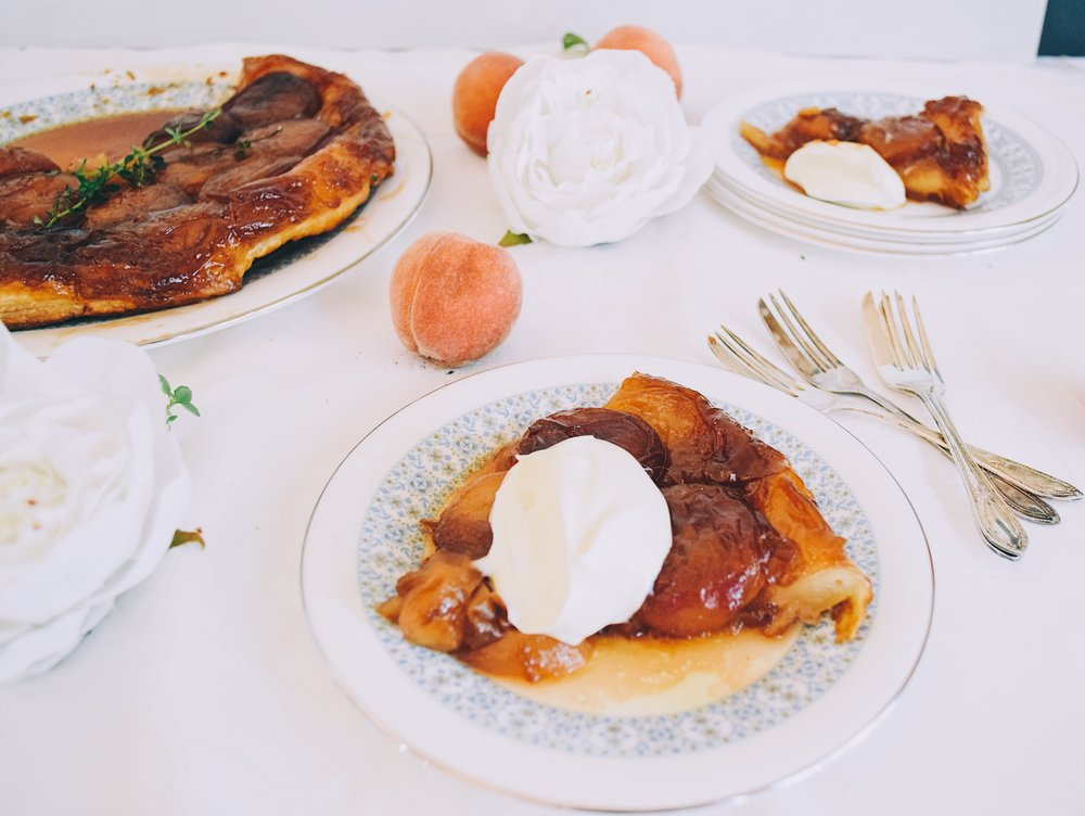 Caramel peach tart