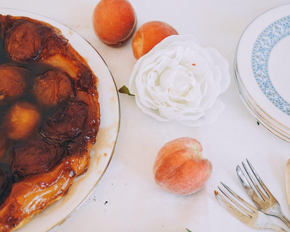 Caramel Peach tarte tatin