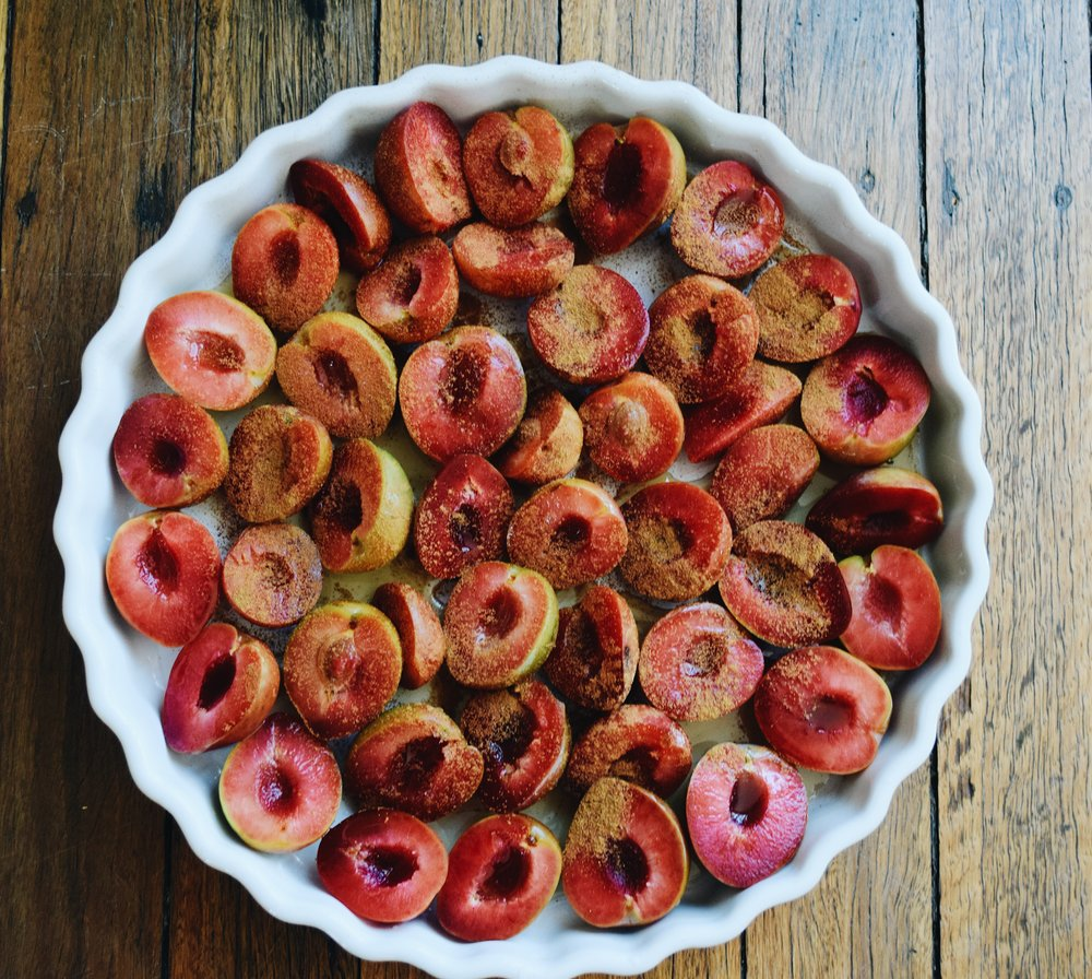 Cinnamon Maple Roasted Plums