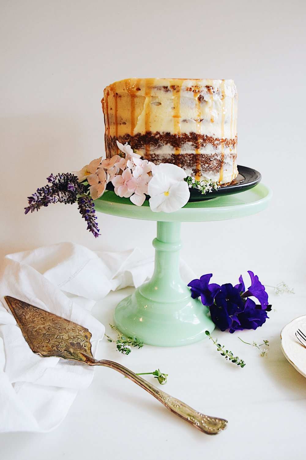 Naked cake with caramel drips
