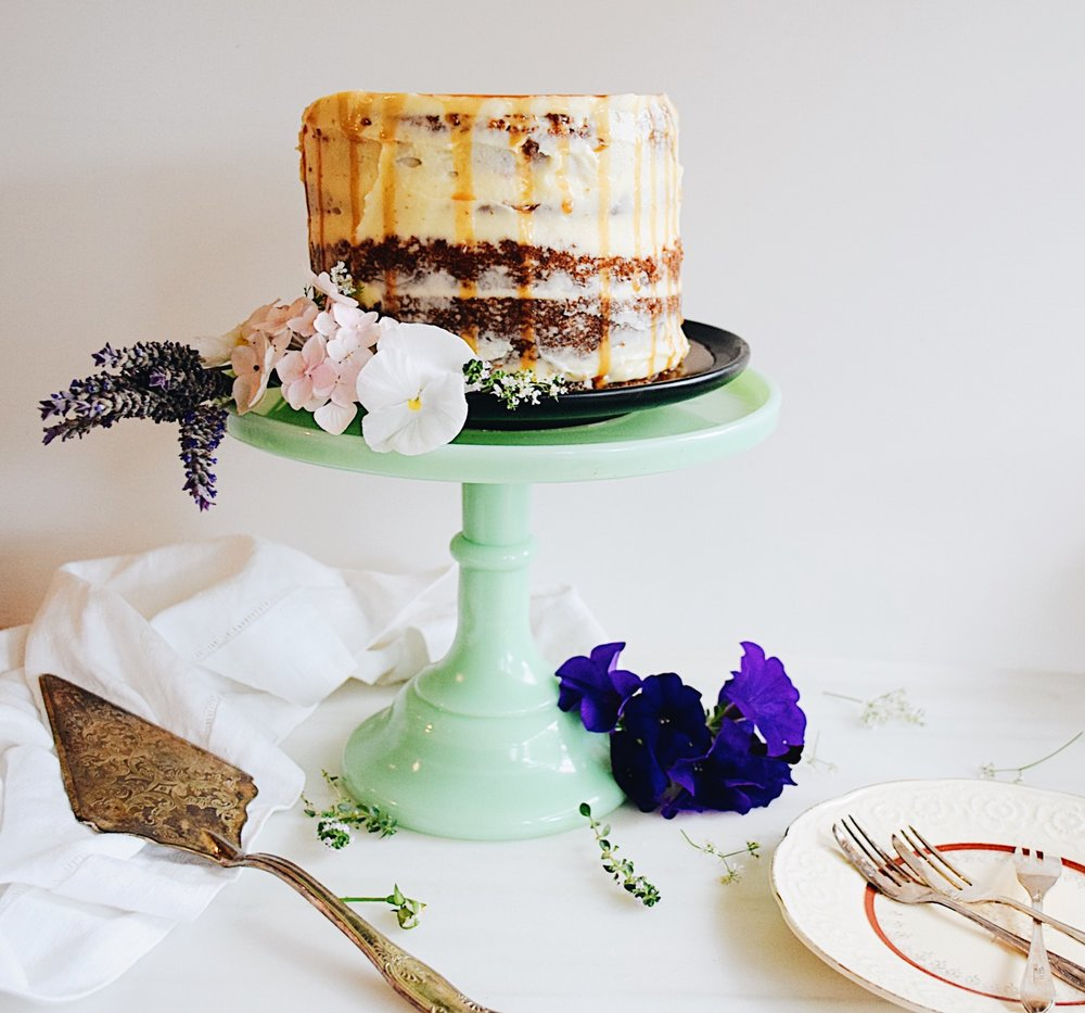 Forgotten Birthday Cake:  Banana & Honey Mascarpone Layer Cake with Salted Butterscotch