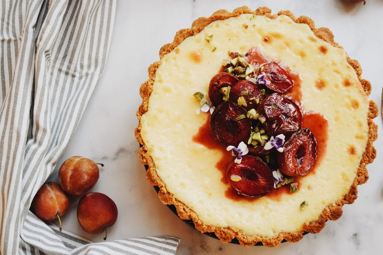 Baked Mascarpone Cheesecake with Roasted Plums