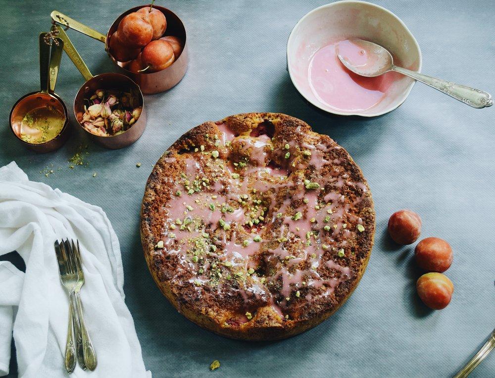 Plum & pistachio cake