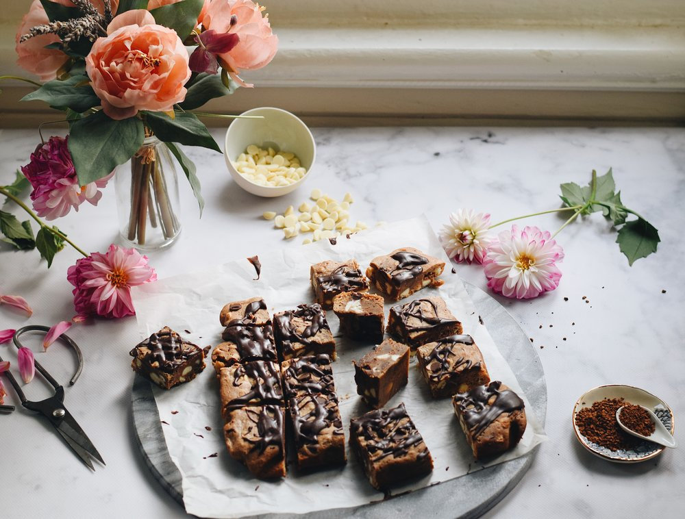 brown butter white chocolate coffee & cardamom blondies