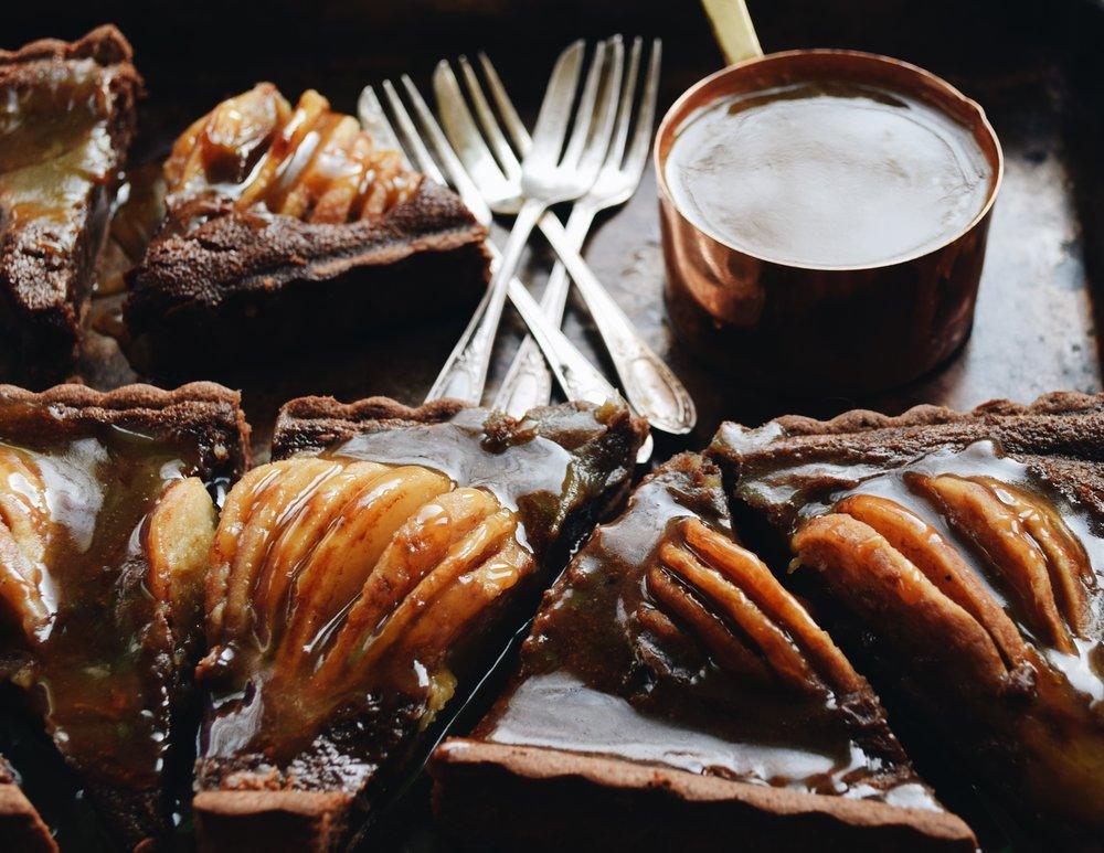 Chocolate caramel pear tart