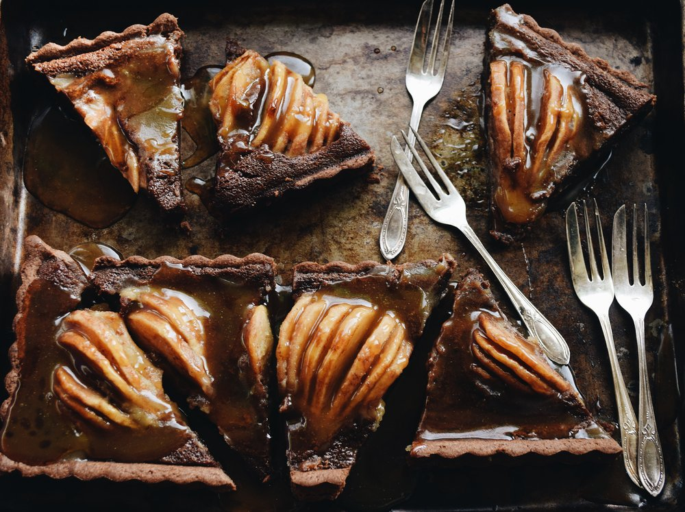 Chocolate Pear Tart with Whiskey Caramel