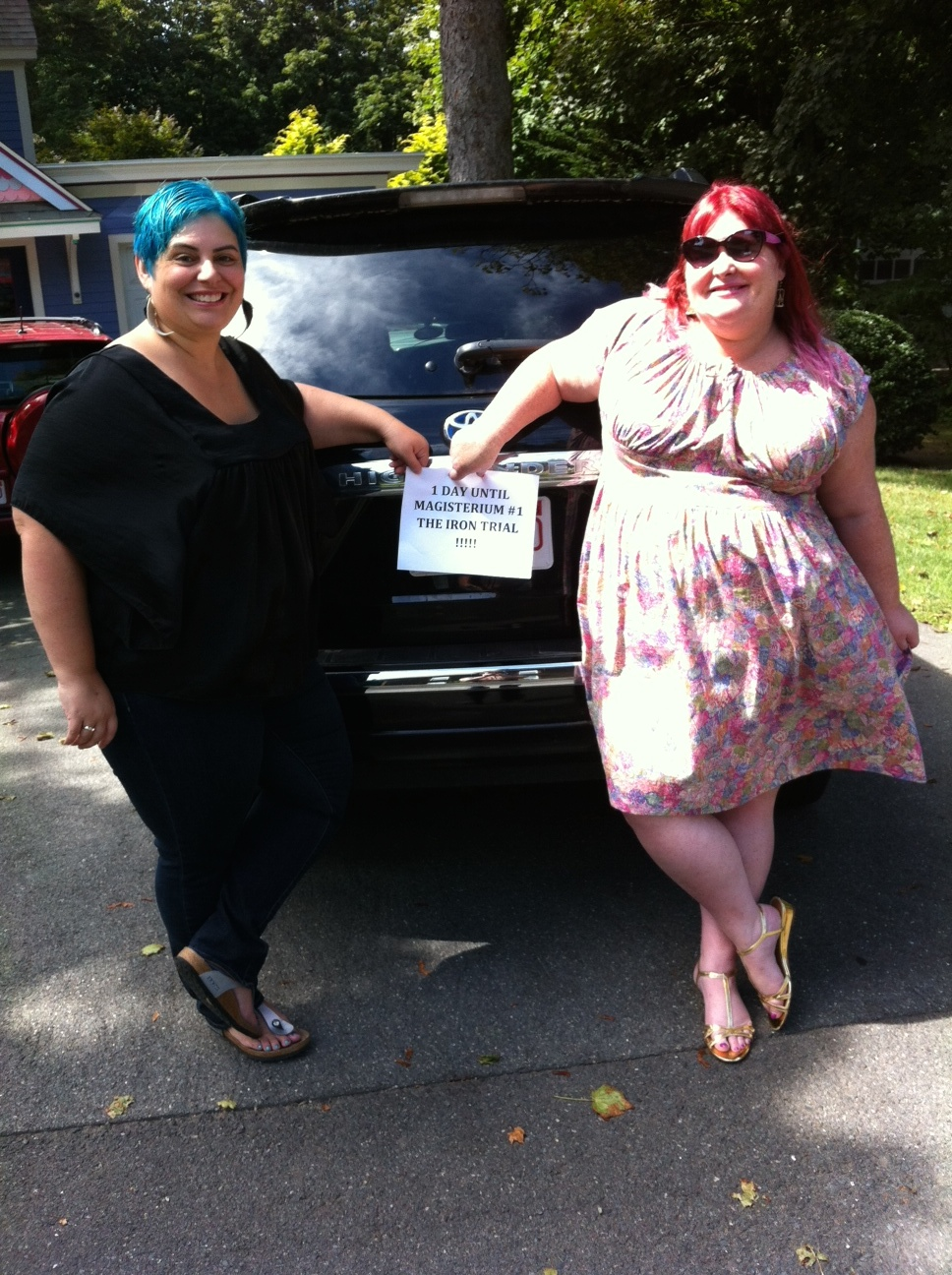 hollyblack: COUNTDOWN COMPLETE: One day remains before The Iron Trial is out! In fact, mere hours remain! Here's Cassie and I getting ready to road trip to New York for our launch event at Books of Wonder tomorrow!!