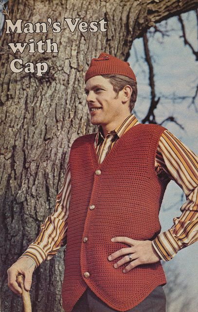 superseventies: Man's Vest With Cap - 1970s men's knitwear *starts knitting*