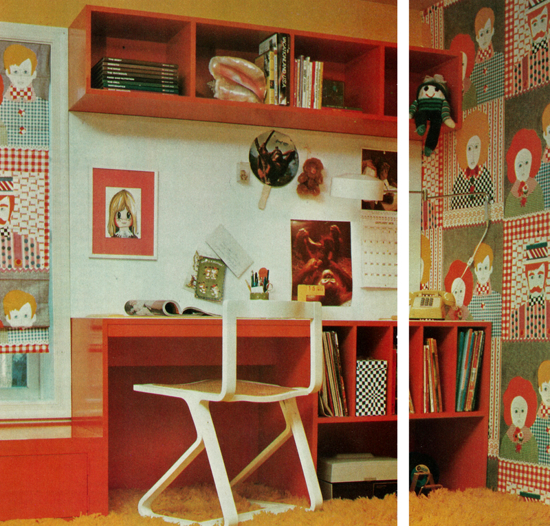 superseventies: DIY storage solutions, Better Homes and Gardens, 1977 STEAL THIS LOOK! 1. Walls are great, but so blank. Fix this problem by filling your walls with CREEPY CHILD FACES and ANONYMOUS MUSTACHIOED MEN. Ideally, they should be staring at the side of your head all the time so you can kind of see them but not directly. 2. Same with curtains. No one must see inside. 3. Desk walls are the worst so get an even CREEPIER PICTURE OF A CHILD and put it JUST TO THE LEFT OF YOUR LINE OF VISION. For the right: warthog. 4. Creepy doll above? YES. 5. This is all going to give you the sweats so tape a fan to the wall in front of you. 6. Carpet? Check. Shag? Check. Color? Kind of an orange-vomit? Check. 7. Deeply suggestive seashell? You know it! Put it above your head so you can reach up and touch it. Now you have a workspace from which you can plan your killing spree.