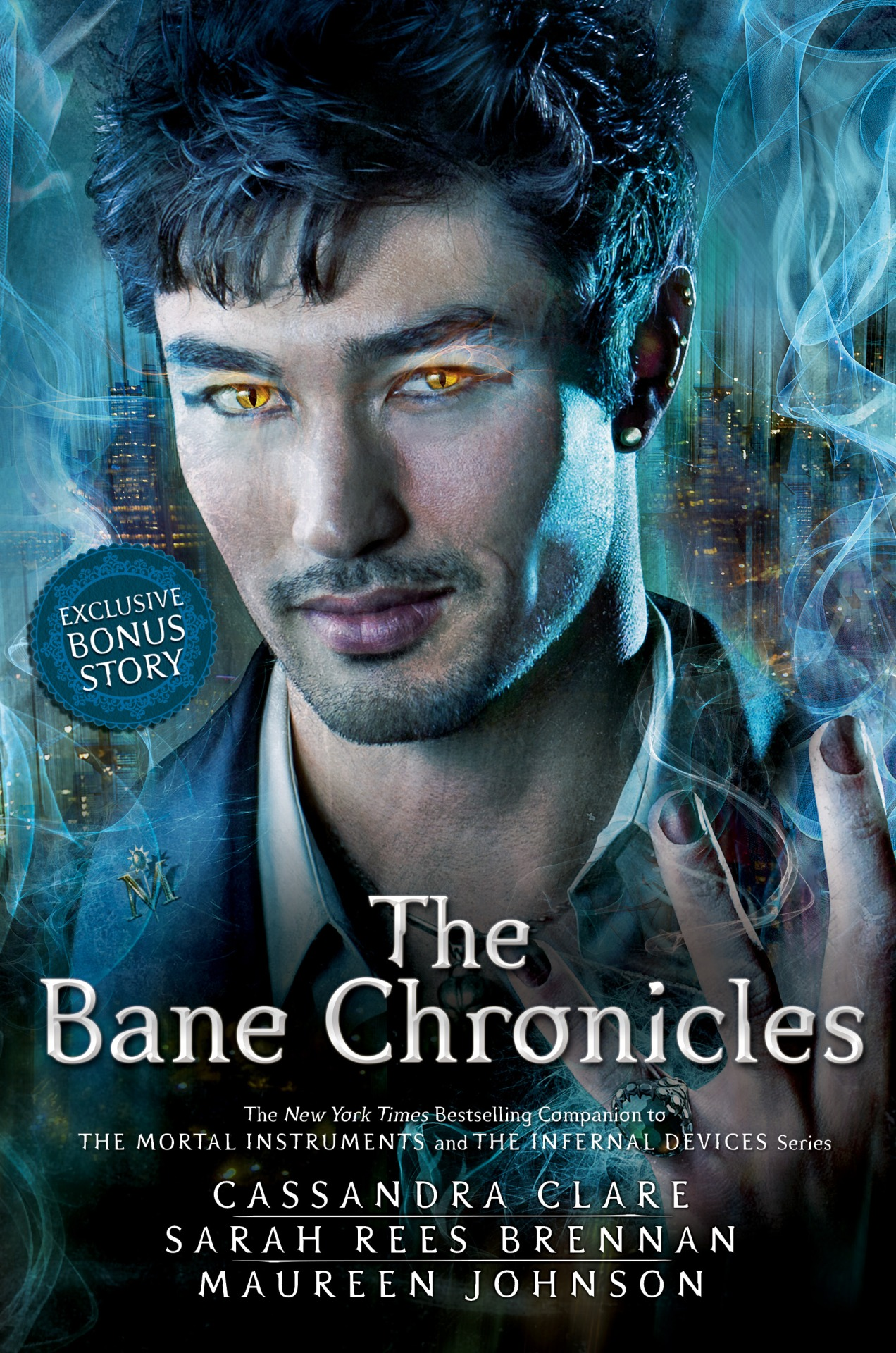sarahreesbrennan: cassandraclare: Cassie, will there be a whole new cover for The Bane Chronicles' print edition? — addictedtothese Here it is! Magnus' pretty face, revealed in honor of the release of the last of the Bane Chronicles, The Course of True Love (And First Dates)  which details Magnus' first date with Alec, and how it went horribly wrong and then oh so right. :) The print edition will release in November, and has a special bonus mini-story in it as a reward for those who had to wait for print. :) It also contains interstitial comics drawn by Cassandra Jean! Maureen and Sarah and I had a blast working on the Bane Chronicles. It was a fun, fantastic experience filled with terrible green jokes about Ragnor, sexy audiobook readers, and of course, lots of time spent with Magnus, which is always a good thing. Thanks so much to everyone for your support of TBC! I echo Cassie's words. I had a lovely, lovely time, and all of Cassie's fans were super kind and embracing of us. We really tried not to let you down, because you're awesome and we know you love Cassie's world and characters and we were taking on a big responsibility! It was super fun to explore the demonier (I'm a demon-y kind of girl) side of Cassie's world with Cassie. MAUREEN: I have many excellent jokes and excellent history facts to share. SARAH: I am obsessed with characters whose names start with R and I'm GOING TO MAKE THAT CLEAR. I thank you for all your support. I hope you had half as much fun as we did. ;) I hope you guys like the cover. I know you liked the audiobook readers, because WHO WOULDN'T? *CRIES* DON'T BE OVER. *clings to book* *clings*