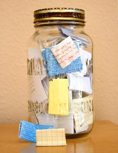"hermionejg: elysemarshall: fred-smurf: katbot: ""Start on January 1st with an empty jar. Throughout the year write the good things that happened to you on little pieces of paper. On December 31st, open the jar and read all the amazing things that happened to you that year."" I'm actually going to do this this year. This is a great idea. I LOVE THIS."