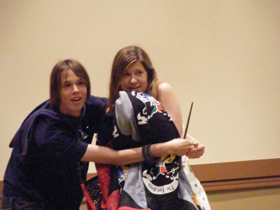 """pantslesswrock: Then there's that time I was at a panel being run by some friends at LeakyCon11 in which they talked about a quilt they were going to auction off, when suddenly someone came in and grabbed the quilt, and they yelled """"BOBBY, STOP HER!"""" and I chased after her, grabbed her, and bodily dragged her back to the front of the room. It turns out this person was MAUREEN JOHNSON. I only found this out about three hours later. I remember this. It was a SERIOUS CHASE."""