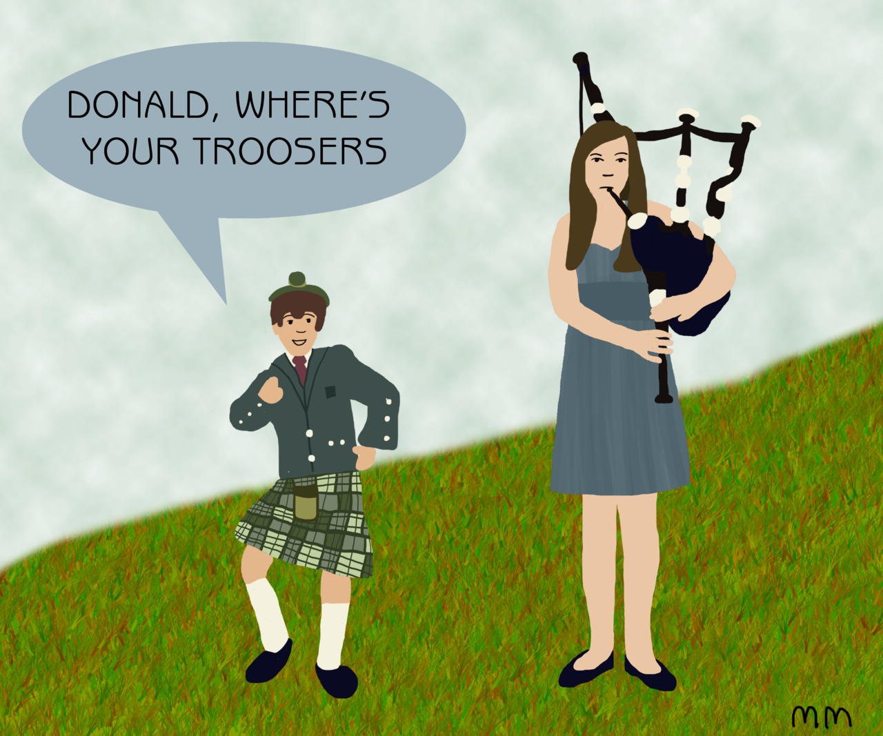 flamingoxboots: Maureen Johnson and a child's Scottish duet. I'm going to reblog some of this amazing art. You know this one stole my heart. Hey, I rhymed!