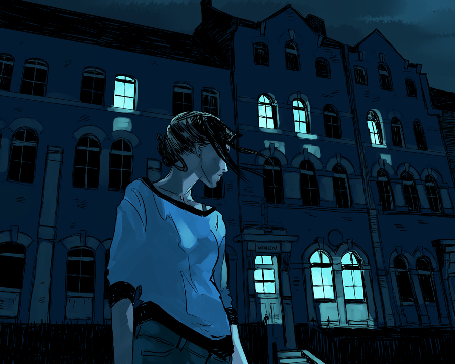 From THE NAME OF THE STAR Rory in front of Hawthorne, confronting DANGER. (The artist used photos of the actual building I based the school on.) Art by Cassandra Pietra