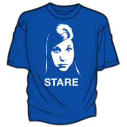 DEPARTMENT OF STUFF WITH MY FACE ON IT This is to let you know that THIS SHIRT is now available for pre-order. If you have ever wanted to wear a LARGE PHOTO OF MY FACE that was guaranteed to make other people feel uncomfortable, THIS IS YOUR CHANCE. GET YOUR VERY OWN STARE! There is also THIS BRACELET, if you like this sort of thing.