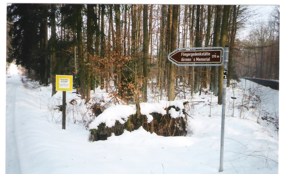 Memorial sign in winter