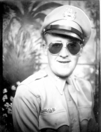 Maynard Jones, cadet, aviation sunglasses, jaunty angle of hat