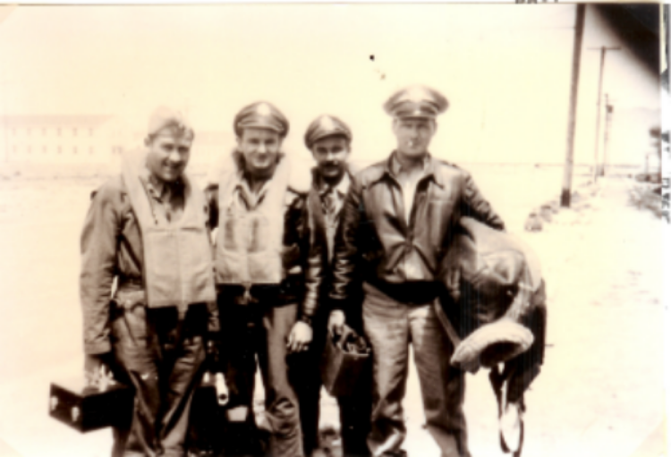 Officer crew of Mairzy Doats, left to right:  Maynard L. Jones, navigator; Carroll G. Snidow, copilot; John A. Friese, bombardier; Edward F. Hautman, pilot