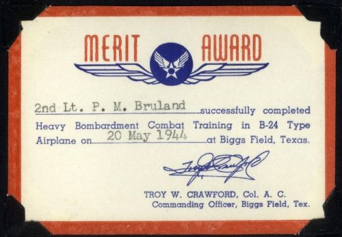 Completed B-24 training Bruland certificate