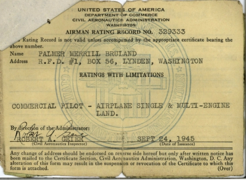 Commercial and Multi-Engine license issued Sept 24, 1945