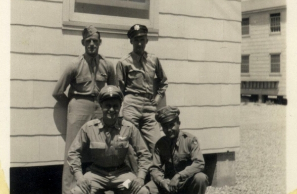 Palmer Bruland, left rear, with his officers during training in the U.S.