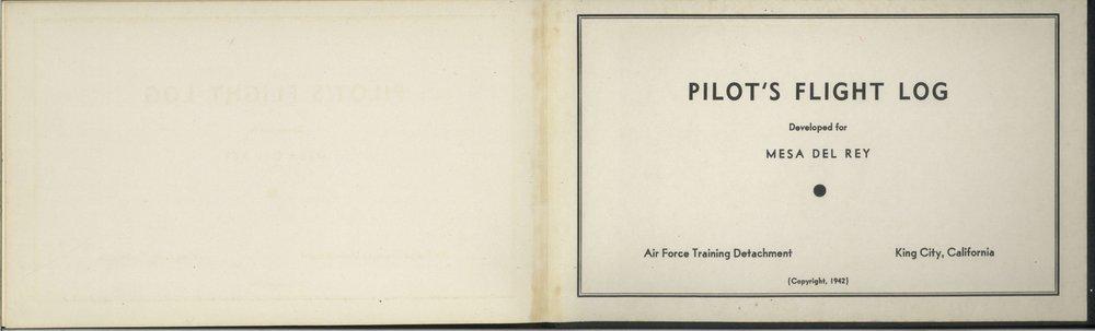 Bruland pilot's log opening page