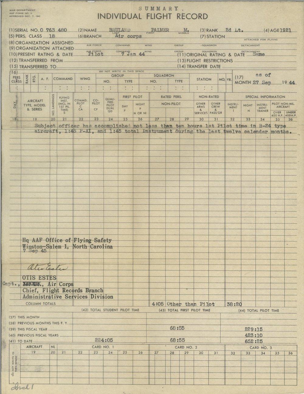 Bruland - pilot's individual flight summary