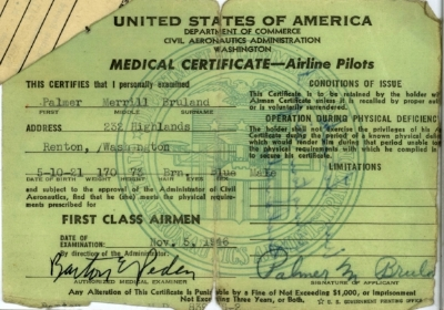 Airline pilot's medical certificate issued Nov. 5, 1946
