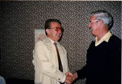 Hassenpflug, left, meets navigator Frank Bertram in 1986 at Bad Hersfeld. Photo courtesy Walter Hassenpflug