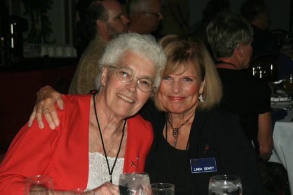 Erlyn Jensen, left, and Linda Dewey at the Thunder Over Michigan Air Show in 2010. Photo by Carol Holliday.