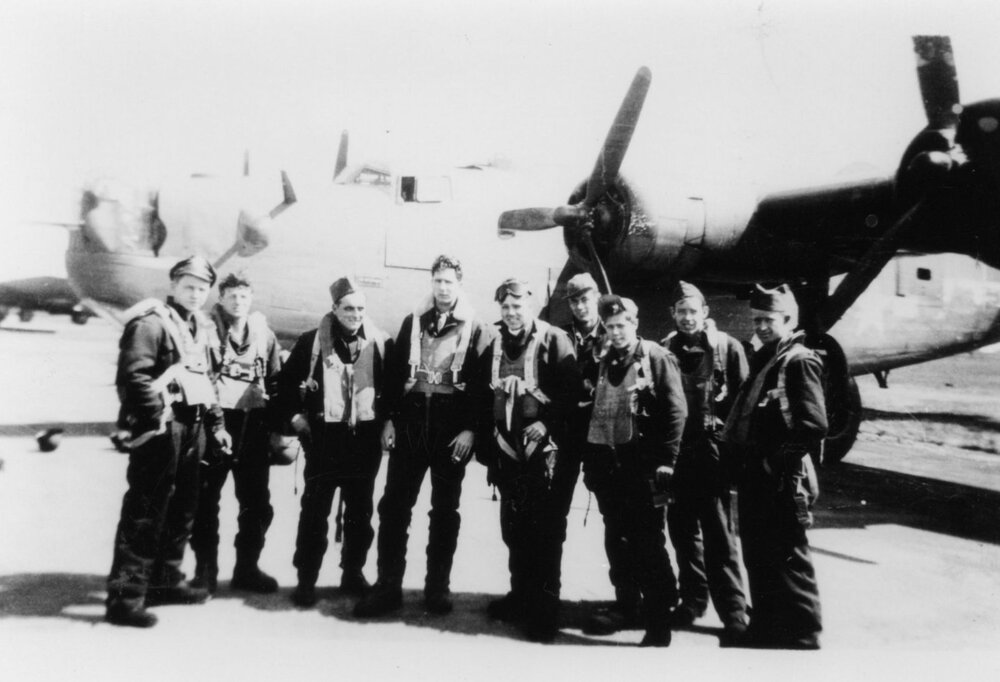 French crew photo standing casually in front of B-24001.jpg