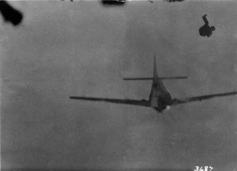 Sent to Eric Ratliffe by Art Shay of German fighter being shot down on KM by Shay.jpg