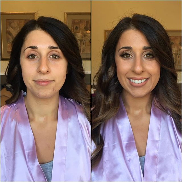 Before and After of another gorgeous client from one of our recent weddings!  Wedding season is definitely not over for us, and we are looking forward to all of our beautiful Autumn and Winter bridal parties! #weloveourjob #transformationtuesday #makeupartist #beforeandafter