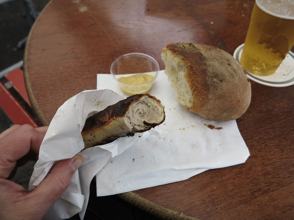 Traditionally, Swiss bratwurst is served with a yeasty, crusty hard roll called a burli, some spicy mustard and enjoyed with a crisp pilsner or kolsch beer.