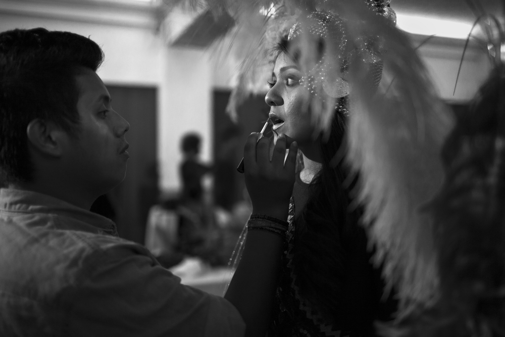 Juliet Gordillo adds some last minute touches before the 2014 Miss Antigua beauty pageant. The winner will compete in the Miss Guatemala beauty pageant. Antigua, Guatemala. July 18, 2014.