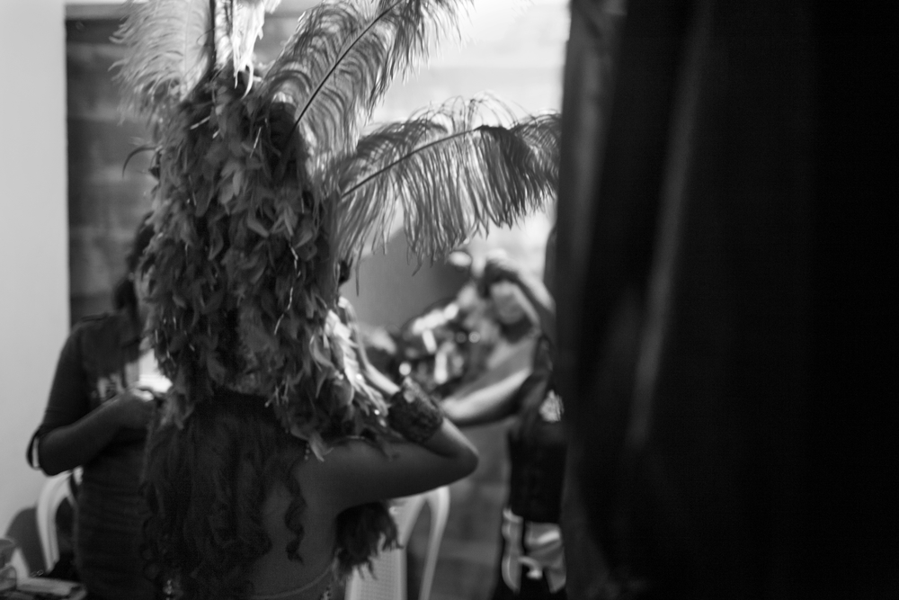 Patricia Vela prepares her outfit for the fantasy portion of the 2014 Miss Antigua beauty pageant. The winner will compete in the Miss Guatemala beauty pageant. Antigua, Guatemala. July 18, 2014.