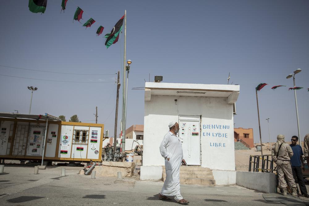 The Dahiba border crossing between Libya and Tunisia. Welcome to free Libya. Dahiba, Libya. July 20, 2011.