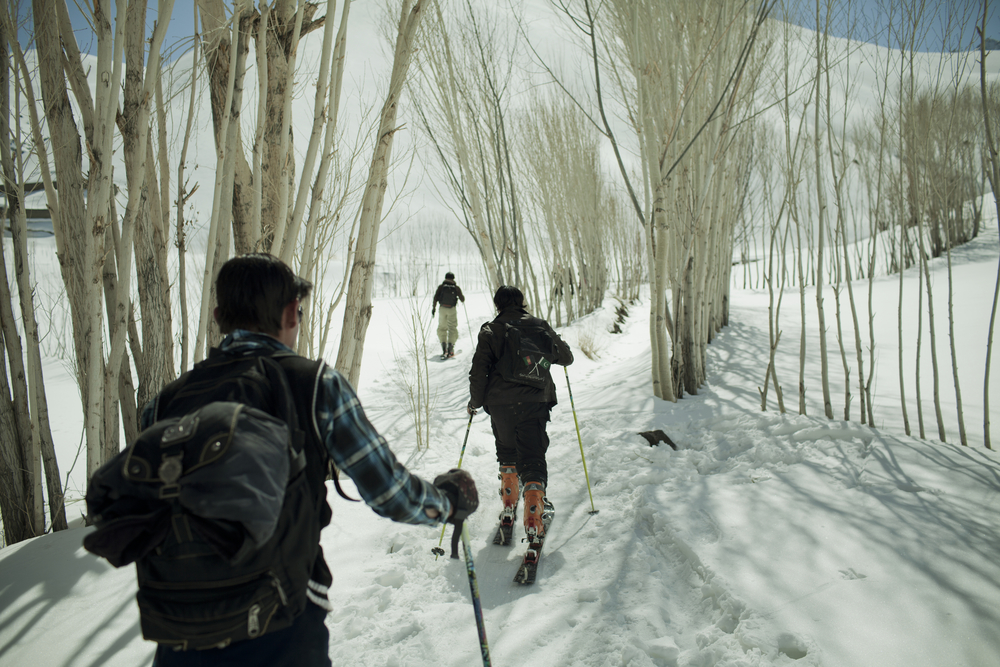 In Bamiyan, mountainous villages with no electricity saw their first skier in early 2010. Here, competitors hiked to the race course for a training run. Koh-e-Baba Mountains, Afghanistan. February 29, 2012.